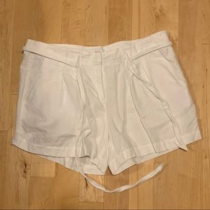 White Linen & Cotton Shorts